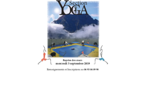 La section YOGA reprend ses cours le 3 septembre 2019